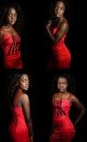 Mooie zwarte in rood portret op zwarte royalty-vrije stock fotografie