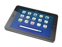 Mooie zwarte tabletPC op witte achtergrond Stock Fotografie