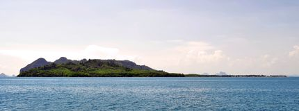 Mook island seen from the South-East. Mook island, or Koh Muk, seen from the South-East with Haad Sivalai beach on the right royalty free stock image