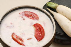 Mooli ka raita is a yogurt salad from kashmir Stock Images