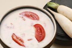 Mooli ka raita is a yogurt salad from kashmir Stock Images