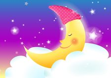 Moon. Illustration of a cartoon crescent moon smiling Royalty Free Stock Photography