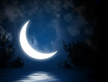 Moon. Night fairy tale - bright moon reflected in river Royalty Free Stock Photos