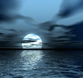 Moon. Abstraction night landscape. Moon and ocean Royalty Free Stock Photo