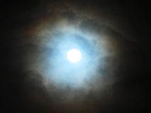 Moon. With blue color effect surrounding Stock Photography