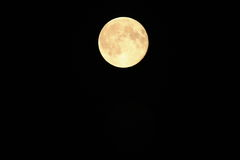 Moon. Thrue full  moon, natural isolation against black sky Royalty Free Stock Image
