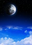 Moon. Stock image of a moon over the clouds Royalty Free Stock Image
