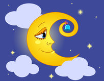 Moon. Moon in the sky. Cartoon vector illustration Royalty Free Stock Images
