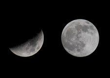 Moon. Quarter and full moon on black background Stock Photo