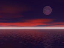 Moon. At night scene. 3D render work Stock Photos