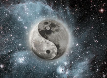 Moon. With a sign of yin and yang Stock Images