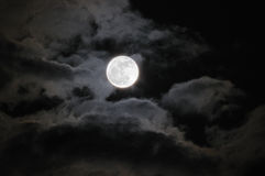Moon. The Full Moon with Clouds Royalty Free Stock Photography