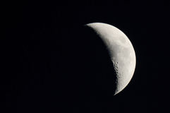 Moon. Waxing Crescent Moon in the night sky Royalty Free Stock Photography