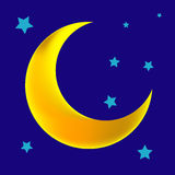 Moon. A vector, illustration for a crescent moon with stars in night Royalty Free Stock Images