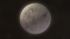 Moon 3D glow. 3D rendering of moon on black background Royalty Free Stock Images