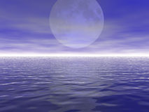 Moon. Big moon and the ocean royalty free illustration
