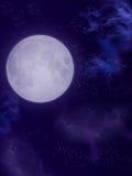 Moon. In dark sky with nebula Royalty Free Stock Image
