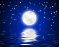 Moon. Image of the moon and stars and reflection in water of the star sky Royalty Free Stock Photography