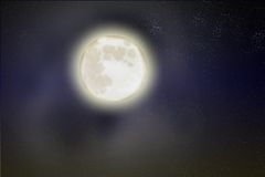 Moon. An illustration of the moon in the sky stock illustration