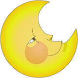 Moon. Yellow smiling moon  night illustration Royalty Free Stock Photography