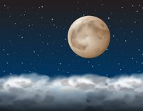 A moon above the cloud vector illustration