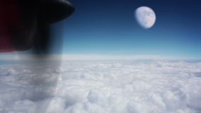 Moon above the clouds stock video