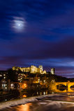 Moon above Durham City at dusk Royalty Free Stock Image