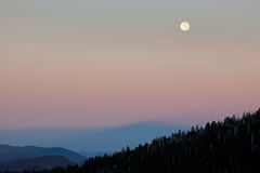 Moon Above Great Smoky Mountains Stock Images