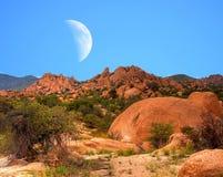 Moon Above Texas Canyon Stock Photos