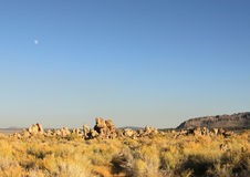 Moon Above Tufa Towers Royalty Free Stock Images