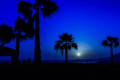 Moon in Agadir, Morocco. Moon over Atlantic Ocean in Agadir, Morocco Stock Images