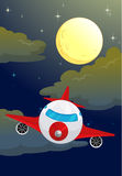 A moon and airplane Royalty Free Stock Image