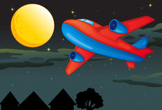 A moon and airplane Royalty Free Stock Images