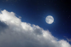 Moon and airplane Royalty Free Stock Photos