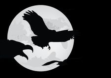 Moon And Bird Silhouette Royalty Free Stock Photo