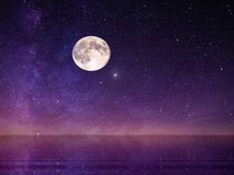 Free Moon And Star   ,Galaxy  Night Starry Sky At Sea Water Lilac Pink Sunset Sky Stars Summer Sea Dark Blue Water Reflection Moonlight Stock Photo - 178890680