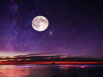 Free Moon And Star   ,Galaxy  Night Starry Sky At Sea Water Lilac Pink Sunset Sky Stars Summer Sea Dark Blue Water Reflection Moonlight Stock Images - 178895724