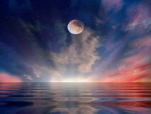 Free Moon And Star   Galaxy  Night Starry Sky At Sea Water Lilac Pink Sunset Sky Stars Summer Sea Dark Blue Water Reflection Moonlight Royalty Free Stock Photography - 178896527