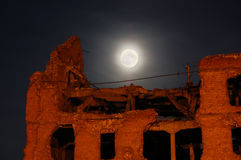 Moon And The Destroyed House Stock Photo