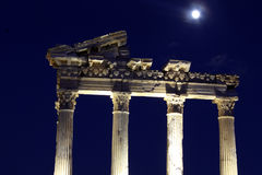 Moon and temple Royalty Free Stock Photography