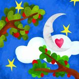 Moon and apple trees. Abstract background with moon and apple trees Stock Photos