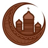 Moon with arabic temples. Ramadan Kareem. Vector illustration design stock illustration