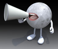 Moon with arms, legs, mouth that shout into loudhailer. 3d illustration Royalty Free Stock Photography