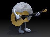 Moon with arms and legs playing a guitar Stock Image
