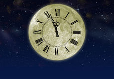 The moon with arrow clock in the star sky stock illustration