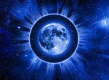 Moon astrology. With light circle, rays of light and Universe Stock Photo