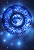 Moon astrology. Moon and zodiac signs over starry Universe with copy space like a concept for Moon astrology stock image
