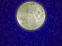 Moon_aura. The detailed moon with an aura in the night star sky Royalty Free Illustration