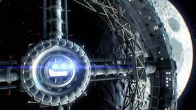 Moon on backdrop. Spaceship flies into the door of giant space torus and flickers with engines lights, 3d animation