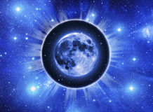 Moon background. Moon in a light circle over starry Universe Stock Image